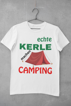T-shirt men white, premium - B&C / real guys go camping in tents